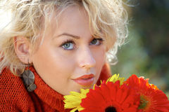 Beautiful woman with flowers Royalty Free Stock Photo