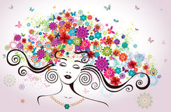 Beautiful Woman with Flowers. royalty free illustration