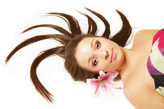 Beautiful woman with flowers in hair Royalty Free Stock Photos