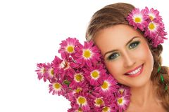 Beautiful woman with flowers in hair Stock Photos