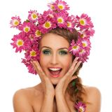 Beautiful woman with flowers in hair Royalty Free Stock Images