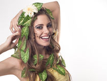Beautiful woman with flowers in her hair Royalty Free Stock Photos