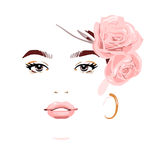 Beautiful woman with flowers in her hair. Vector illustration eps 10 vector illustration