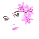 Beautiful woman with flowers in her hair. Vector illustration eps 10 royalty free illustration
