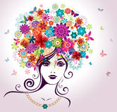 Beautiful Woman with Flowers. Royalty Free Stock Photos