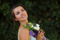 Beautiful woman with a flowers Royalty Free Stock Photo