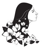 Beautiful woman with flowers. Beautiful monochrome woman with flowers.Vector isolated illustration Royalty Free Stock Image
