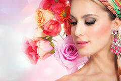 Beautiful Woman In Flowers Stock Photography
