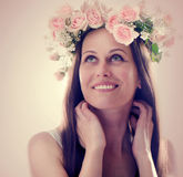 Beautiful  woman with flowers in their hair Stock Images