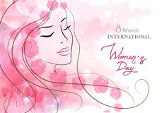Beautiful woman with flowers. Watercolor pink background. Mother s day, 8 march, beauty, style . Beautiful woman with flowers. Watercolor pink background Stock Images