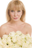 Beautiful woman  with flowers on white Royalty Free Stock Photography