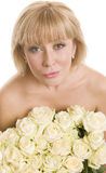 Beautiful woman  with flowers on white background Royalty Free Stock Photo