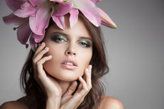 Beautiful Woman With Flowers Wreath In Her Hair. Stock Photos
