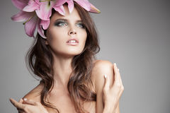 Beautiful Woman With Flowers Wreath In Her Hair. Stock Photography