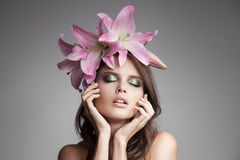 Beautiful Woman With Flowers Wreath In Her Hair. Stock Image