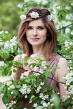 Beautiful Woman in Flowers Wreath. Long Bob Hairstyle Royalty Free Stock Photos