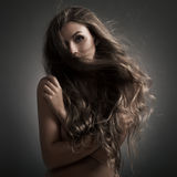 Beautiful Woman. Fluttering Long Hair. Royalty Free Stock Images