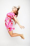 Beautiful woman flying girl in pink dress Royalty Free Stock Photos
