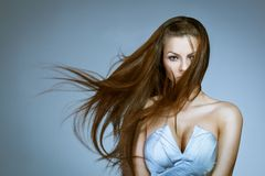 Beautiful woman with flying hair Royalty Free Stock Photography