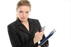 Beautiful woman with a folder, phone Stock Photos
