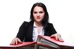 Beautiful woman with folders Royalty Free Stock Photo