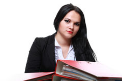 Beautiful woman with folders Stock Images