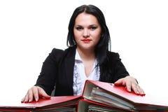 Beautiful woman with folders Stock Photos