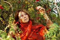 Beautiful woman in foliage Royalty Free Stock Photos