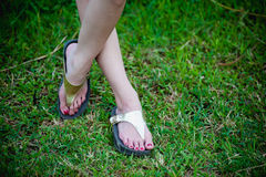 Beautiful woman foot on grass Royalty Free Stock Photos