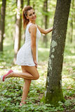 Beautiful woman in the forest Royalty Free Stock Photos