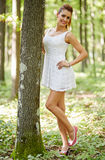 Beautiful woman in the forest Royalty Free Stock Photo