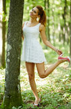 Beautiful woman in the forest Royalty Free Stock Images