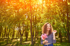 Beautiful woman in forest at spring Stock Images