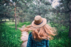 Beautiful woman in the forest Stock Image