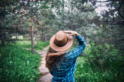 Beautiful woman in the forest Stock Images