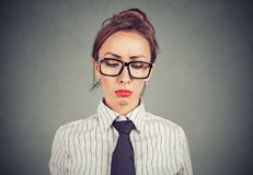Sad elegant woman in glasses stock photo