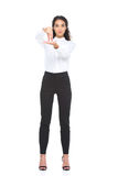 Beautiful woman in formalwear standing and gesturing signed language Stock Photos