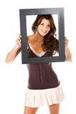 Beautiful woman with a frame Royalty Free Stock Photo