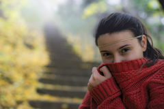Beautiful woman freezing in autumn park. Expression of freezing by an young woman Stock Image