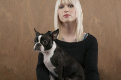 Beautiful Woman With French Bulldog Royalty Free Stock Photo