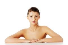 Beautiful woman with fresh clean skin stock image