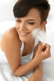 Beautiful Woman With Fresh Face Touching Her Soft Skin. Beauty Royalty Free Stock Images