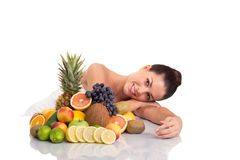 Beautiful woman  and fresh fruit,healthy life concept Royalty Free Stock Photos