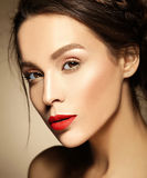 Beautiful  woman with fresh daily makeup and clean face Stock Images