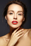 Beautiful  woman with fresh daily makeup and clean face Royalty Free Stock Photos