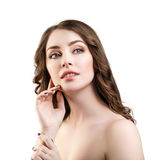 Beautiful woman with fresh daily makeup. Portrait of beautiful woman with fresh daily makeup and perfect skin royalty free stock image