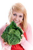 Beautiful woman with fresh savoy cabbage Stock Photo