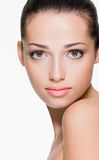 Beautiful woman with fresh skin of face Stock Images