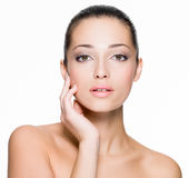 Beautiful woman with fresh skin of face Royalty Free Stock Image