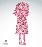 Beautiful woman front view, vector art illustration of a cute gi. Rl. Floral image of a female, for use in graphic design Royalty Free Stock Photos